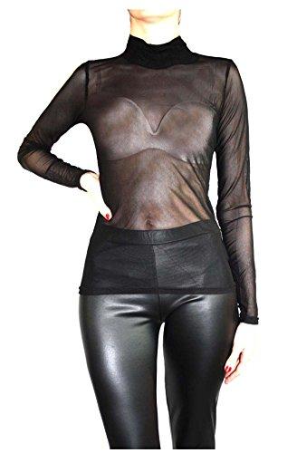 Muse da Donna/Form Shirt trasparente con le braccia lungo in tulle nero 42