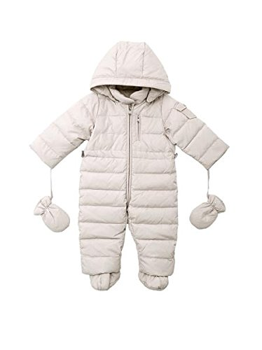Oceankids Baby Boys Girls Beige Pram One-Piece Snowsuit Attached Hood 18M 12-18 Months