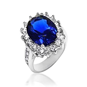 Bling Jewelry Kate Middleton Diana Ring Oval Blue Sapphire Color CZ Engagement Ring Silver Plated 5ct with Crystal Gift Box - Size 6