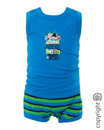 Bright Bots Baby Boy Vest Top / Singlet and Shorts in Bright Blue and Stripe size 0-3 months