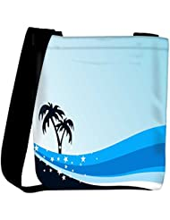 Snoogg Summer Background With Palm Tree And Blue Wave Womens Carry Around Cross Body Tote Handbag Sling Bags