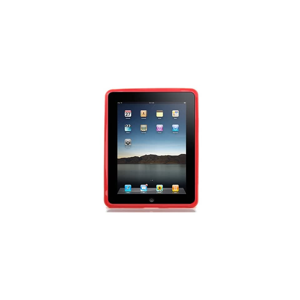 Crystal Skin TPU Glove RED Soft Cover Case WITH ONE LINE STRIP DESIGN for Apple iPad 3G tablet / Wifi 16GB, 32GB, 64GB CASE Pouch Carrying Bag
