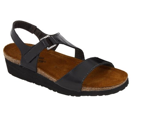 Naot Women's Pamela Sandals,Black Madras Leather,37 M EU