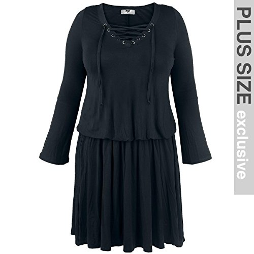 Black Premium by EMP Corded Swing Dress Abito nero 3XL