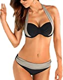 Arrowhunt Damen Mädchen Mischfarbe Neckholder Push Up Bikini Set