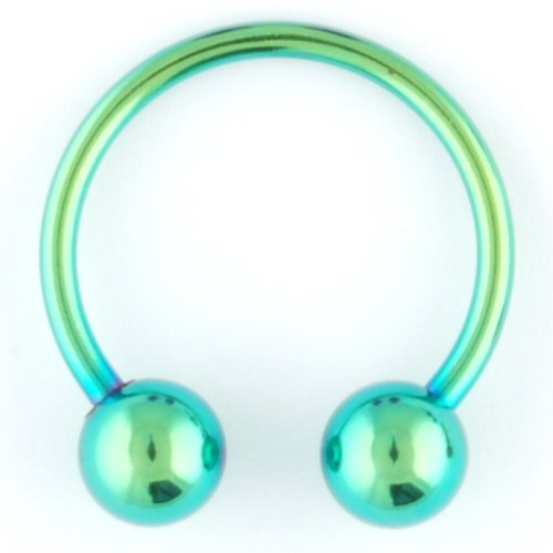 """One Pvd Stainless Steel Circular Barbell: 16G 5/16"""" Green (Sold Individually. Order Two For A Pair.)"""