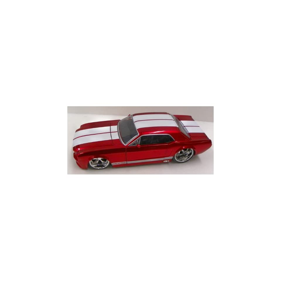 Jada Toys 1/24 Scale Diecast Big Time Muscle 1965 Ford Mustang Gt in Color Red with White Stripes