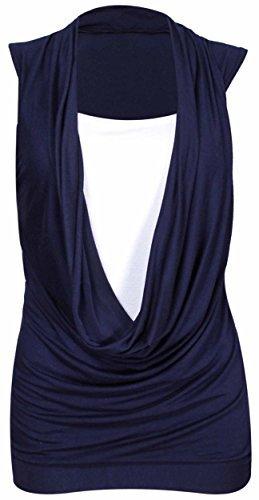 Purple Hanger - Damen Hemd Top Neu Gekräuselter Wasserfall Ausschnitt Ärmellos Dehnbar Übergröße - 52-54, Marineblau