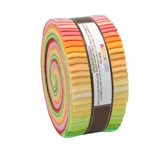 Robert Kaufman Kona Cotton Solids Sunrise Jelly Roll Up, 43 2.5x44-inch Cotton Fabric Strips