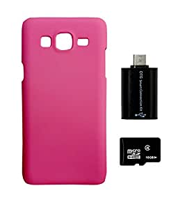 SAMSUNG Galaxy J2 DEPARQ Pink Hard Back Case Cover With 16 GB MEMORY CARD AND OTG adapter Combo