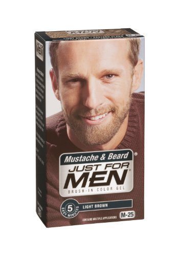 Just for Men Brush-In Color Gel, Mustache and Beard, Light Brown M-25, 1 kit, (Pack of 3)