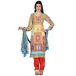 Admyrin Women Yellow Crepe Dress Material