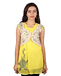 PurpleYou Women's Plain Shirt (E5WTYE007, Yellow, Small)