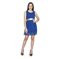 CJ15 Blue Georgette Sleeveless Dress For Women
