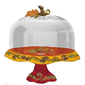 Cypress Home Harvest Blessings Hand-painted Ceramic Cake Plate With Glass Dome