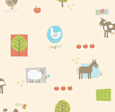 Hoopla Farm Animal Bird Apple Tree Children Bedroom 10m Wallpaper Roll Decor Art from DECORLINE