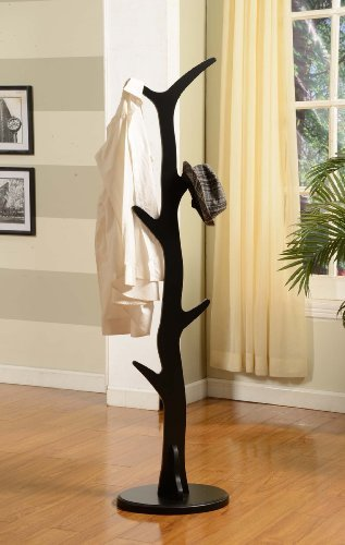Kings Brand Black Finish Wood Coat Rack Stand (Coat Hanger Stand compare prices)
