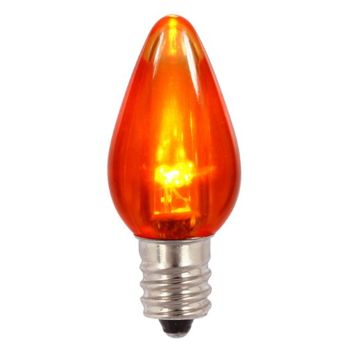 Club Pack Of 25 Orange Led Transparent C7 Christmas Replacement Bulbs