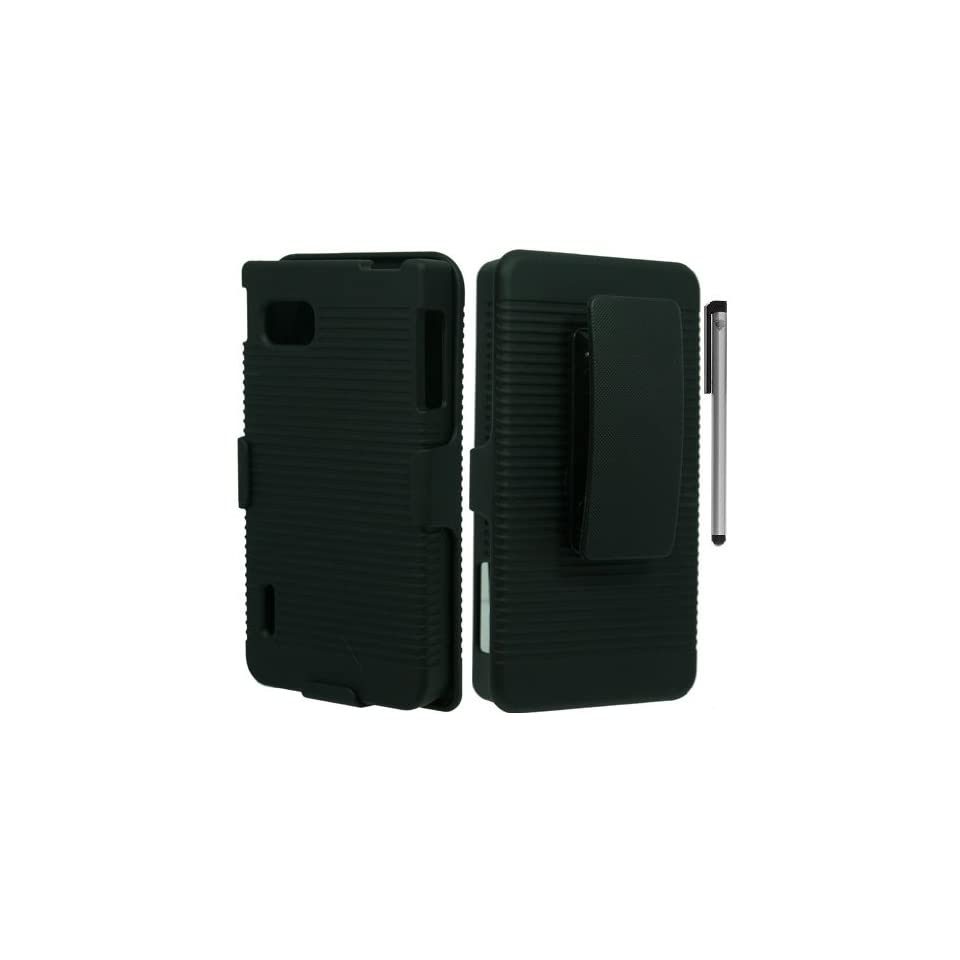 Black Belt Clip Holster Stand Cover Case with ApexGears Stylus Pen for LG Optimus F3 MS659 T Mobile by ApexGears