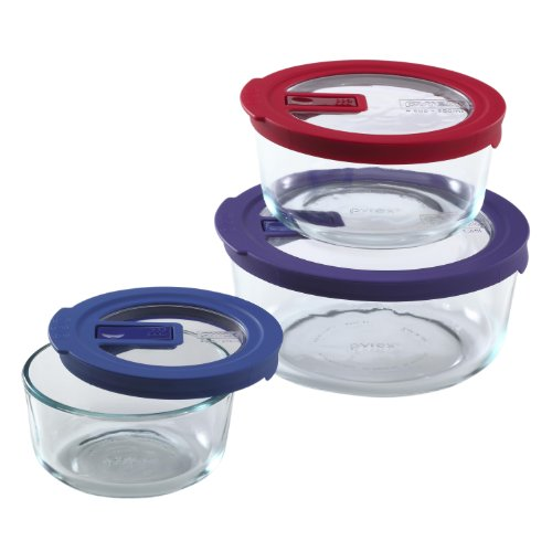 Pyrex 6-Piece No Leak Value Pack Round Food Storage, Clear