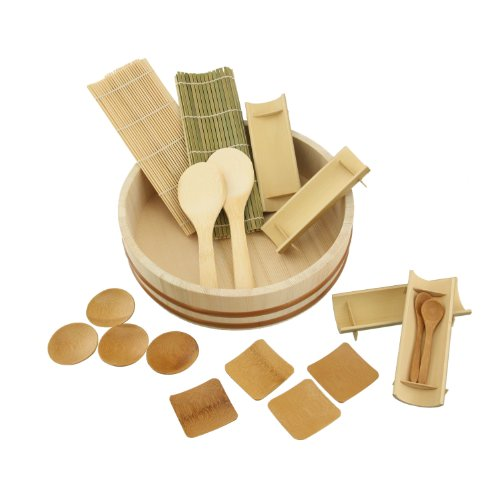 "Bambooimportsmn 10"" Sushi Oke Tub (Hangiri) With 13Pc Sushi Making Accessory Pack"