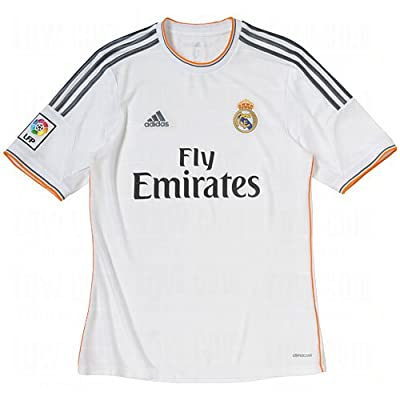 adidas Real Madrid 2013-14 Official Home Soccer Jersey (White/Lead/Light Orange) X-Large