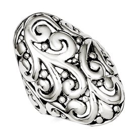 Genuine IceCarats Designer Jewelry Gift Sterling Silver Antiqued Filigree Ring Size 8.00
