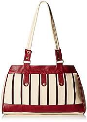 Fantosy Women's Handbag (Cream and Maroon) (FNB-399)