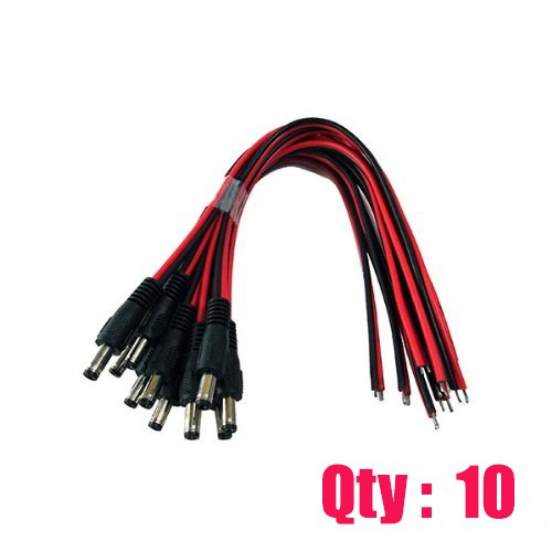 iMBAPrice iMBA-CCTV-PGTM-10 CCTV Security Camera DC Male Power Plug Pigtail Cable – Pack of 10 (Black/Red) image