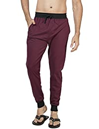 Clifton Men's Ribbed Slim Fit Track Pant - Dark Red
