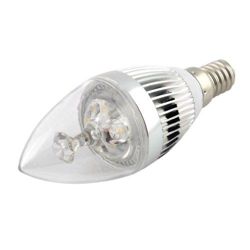 Bloomwin- E14 Led Tip Candle Light Bulb Lamp 220Volt 3Watt Warm White Silver