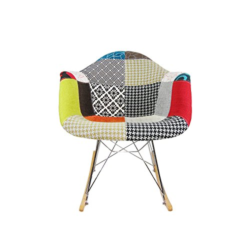 ModHaus Mid Century Modern Eames Style RAR Patchwork Fabric Upholstered Rocking Rocker Chair 1