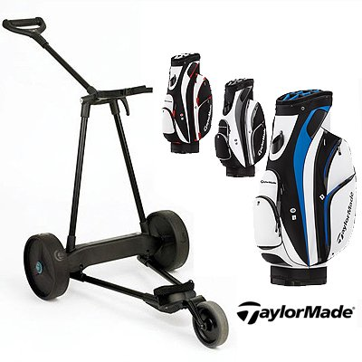New! Emotion E3 23Lbs Pull Push Electric Motorized 3-Wheel Golf Cart Trolley + New! Taylormade San Clemente 2013 Cart Bag