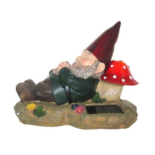 Solar Powered Sleeping Gnome Dwarf Elf Mushroom Accent Light
