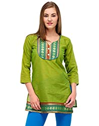 Kiosha Cotton 3/4 Sleeve Green Kurti for women
