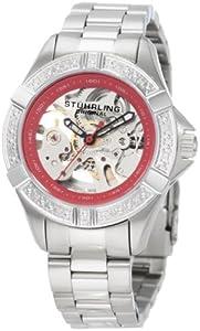 Stuhrling Original Women's 331.121156 Aquadiver Regatta Skeleton Automatic Diamond Red Dial Watch