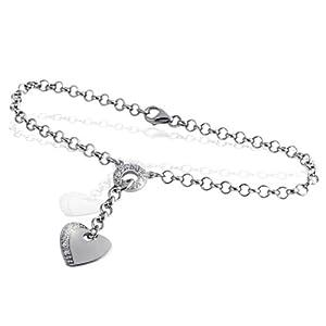 Goldmaid Damen-Armband Herz 925 Sterling Silber 15 Zirkoniasteine He A29S