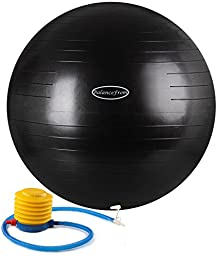BalanceFrom Anti-Burst and Slip Resistant Fitness Ball with Pump (Black (75cm))