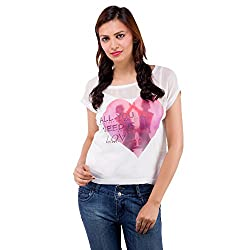Centiaro Women's Casual Wear Heart Printed Top Poly Cotton Top
