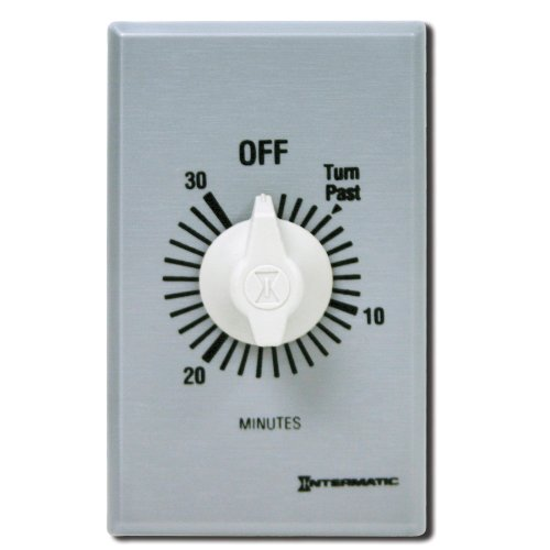 Intermatic Ff30Mc 30-Minute Spring Loaded Wall Timer, Brushed Metal