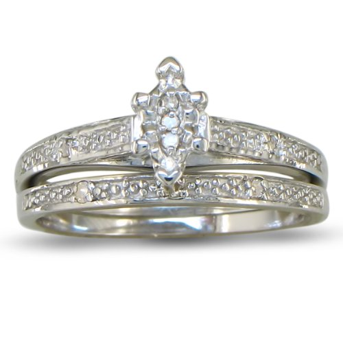 Marquise diamond bridal engagement ring and wedding band in sterling