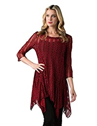 Kaktus Women's 3/4 Sleeve Asymmetrical Diamond Print Tunic