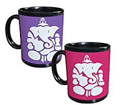 Tiedribbons - Lord Ganesh Gifts For Diwali Set Of 2 Black Coffee Mug(350 ML)