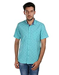 Oxemberg Men's Printed Casual 100% Cotton Turquoise Shirt