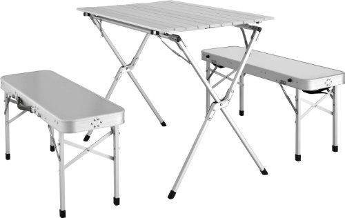 Image Stylish Camping TA8116 Folding Aluminum Roll Up Table With 2 Benches
