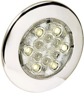 "Attwood Corporation 6340Ss7 4"" Round Led Interior And Exterior Courtesy Light"