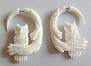 """Bone Fake Gauge """"Small Owl"""" Earrings By Primal Distro"""