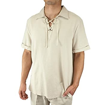 Cotton drawstring collar short sleeve beach shirt natural