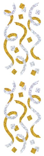Jillson Roberts Prismatic Stickers, Gold, Silver Streamers and Confetti, 12-Sheet Count (S7287)