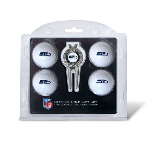 NFL-Seattle-Seahawks-4-Golf-Balls-and-Divot-Tool